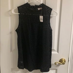 Loft Black lace sleeveless top new with tag